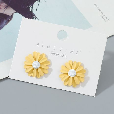 gold-plated simple and wild niche fashion popular sunflower S925 silver needle  earrings wholesale nihaojewelry NHPS227053's discount tags