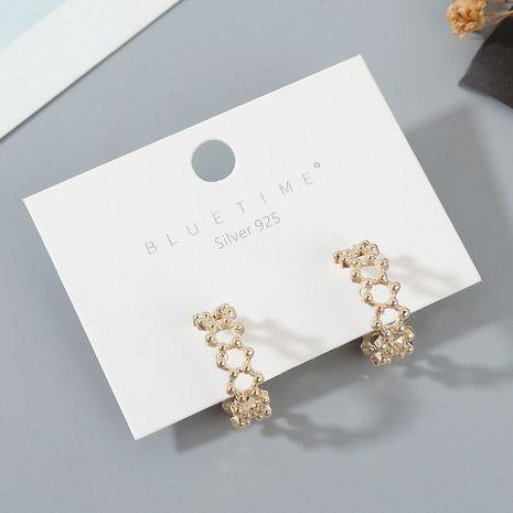 véritable plaqué or français sauvage simple créatif S925 aiguille d'argent gros  boucle d'oreille nihaojewelry NHPS227055's discount tags