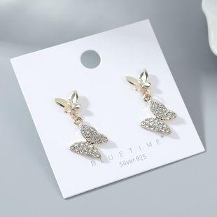 Chapado en oro salvaje moda popular pequeña mariposa S925 aguja de plata al por mayor nihaojewelry NHPS227064's discount tags