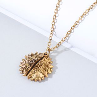 creative exaggerated wild sunflower necklace wholesale nihaojewelry NHPS227065's discount tags