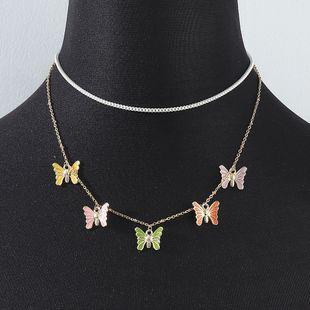 collar doble mariposa mariposa flor creativa simple al por mayor nihaojewelry NHPS227070's discount tags