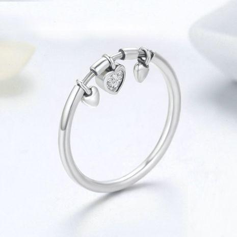 hot selling fashion 925 sterling silver ring small hanging heart diamond ring nihaojewelry wholesale NHKL227098's discount tags