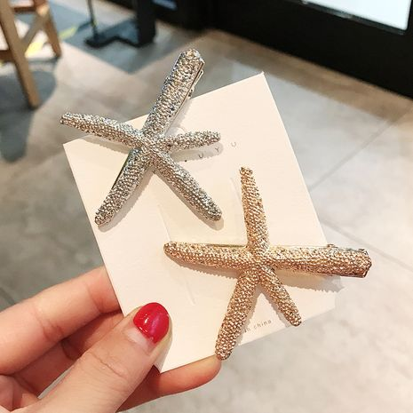 Simple metal starfish duckbill clip hair clip Korean headdress girl bangs clip side clip hairpin  wholesale nihaojewelry NHDQ221339's discount tags