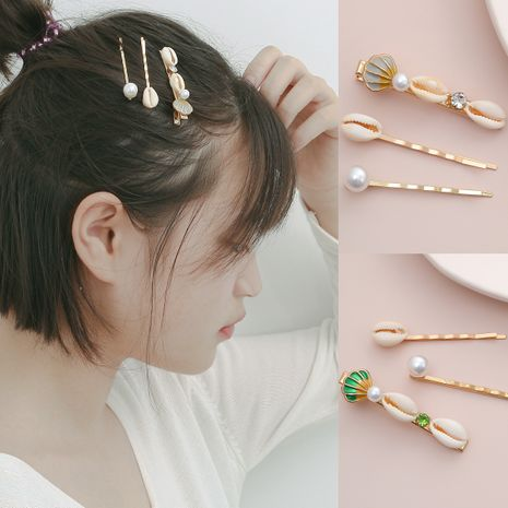 fashion jewelry temperament imitation pearl geometric hair accessories simple ocean wind shell scallop suit hair clip  wholesale nihaojewelry NHXR221346's discount tags