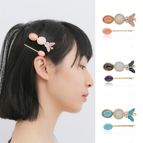 fashion jewelry simple colored gemstone rhinestone hair accessories personality small butterfly drip oil handmade hairpin  wholesale nihaojewelry NHXR221347's discount tags