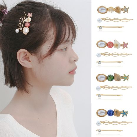 fashion jewelry ocean style handmade hair accessories simple starfish shell frosted gem hair clip  wholesale nihaojewelry NHXR221349's discount tags