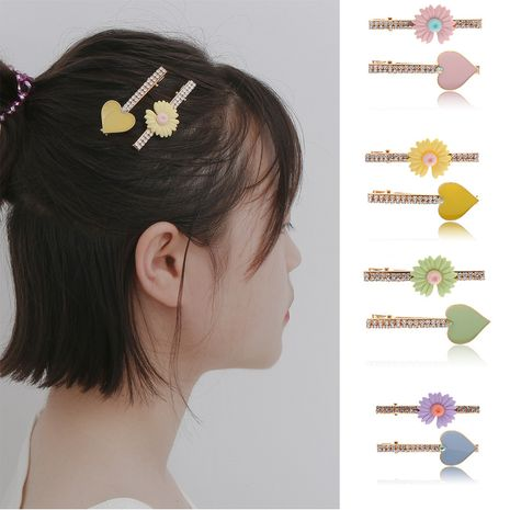 fashion jewelry fashion daisy flower micro-set hair accessories simple heart-shaped mix and match color suit hair clip  wholesale nihaojewelry NHXR221350's discount tags