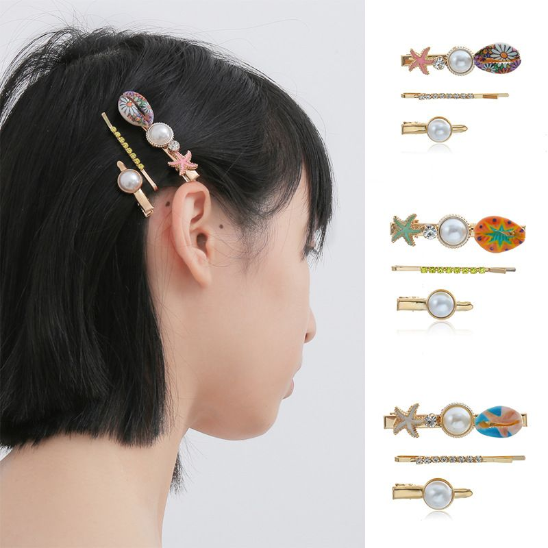 fashion jewelry simple imitation pearl micro-set hair accessories temperament ocean style printing shell starfish hairpin  wholesale nihaojewelry NHXR221351