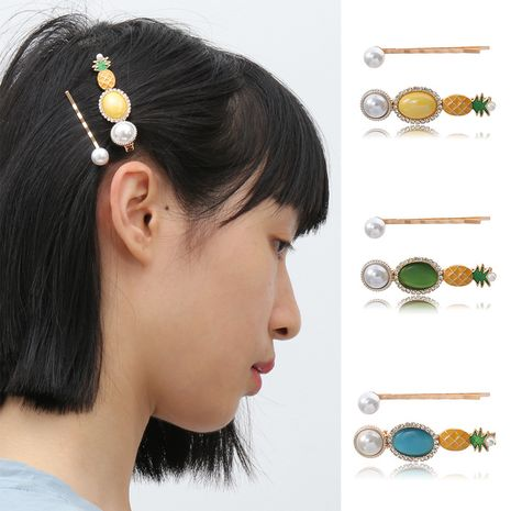 fashion jewelry sweet and fresh gem geometric hair accessories temperament imitation pearl micro-inlaid pineapple hair clip  wholesale nihaojewelry NHXR221352's discount tags