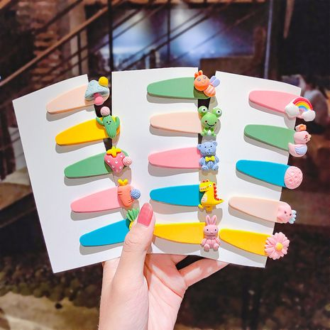 Acrylic frosted children hairpin candy color cute animal hairpin girl baby small clip bangs clip hair accessories wholesale nihaojewelry NHNA221364's discount tags