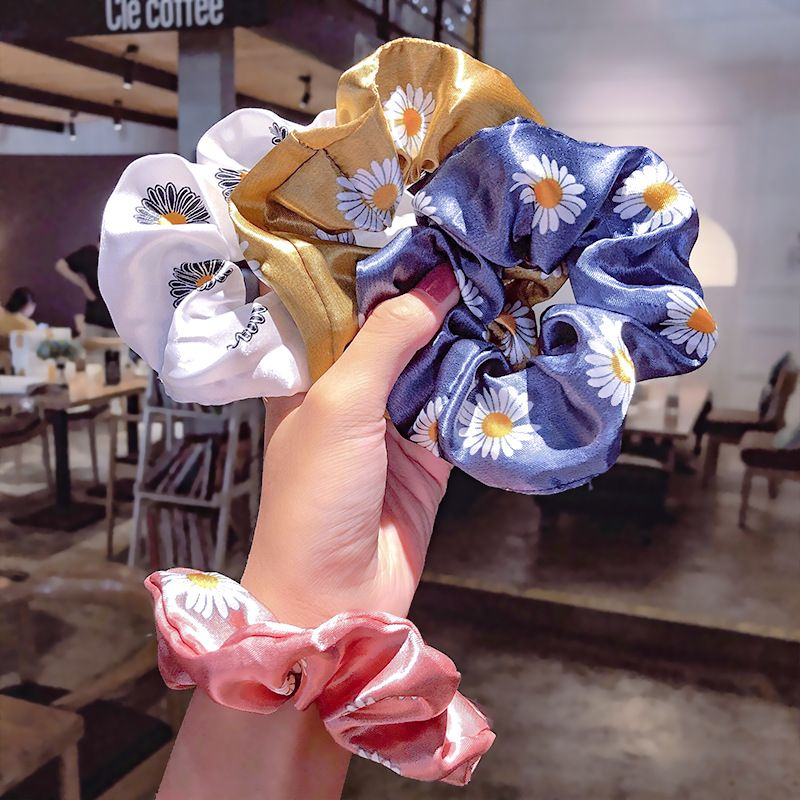 Satin chrysanthemum hair scrunchies simple printing small daisy head rope hair rubber band hair rope ring hair accessories  wholesale nihaojewelry NHNA221366
