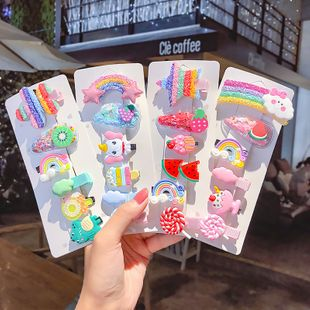 Korean children's hairpin cute rainbow hairpin girl baby bag headdress cartoon clip princess hair accessory wholesale nihaojewelry NHNA221367's discount tags