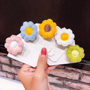 Knitted fabric flower hairpin dual-use hair accessories South Korea cute style small flower duckbill clip hairpin fashion  wholesale nihaojewelry NHNA221369's discount tags