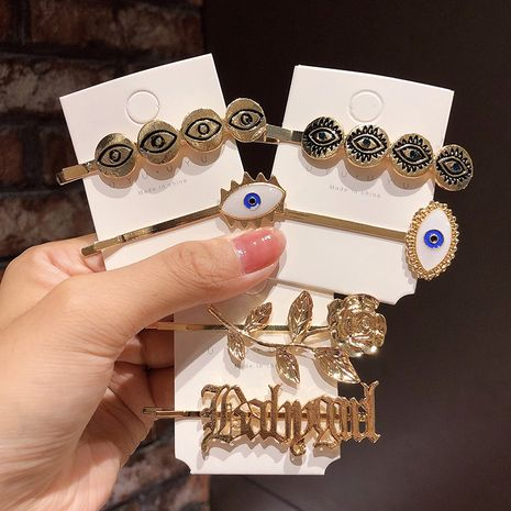 fashion style Gothic devil's eye hairpin retro hairpin simple word clip girl side clip bangs clip hair accessories  wholesale nihaojewelry NHNA221373's discount tags