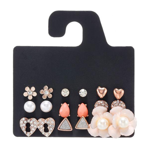 Korea pearl iron flower earrings triangle love alloy electroplating geometric earring set wholesale nihaojewelry NHZU221379