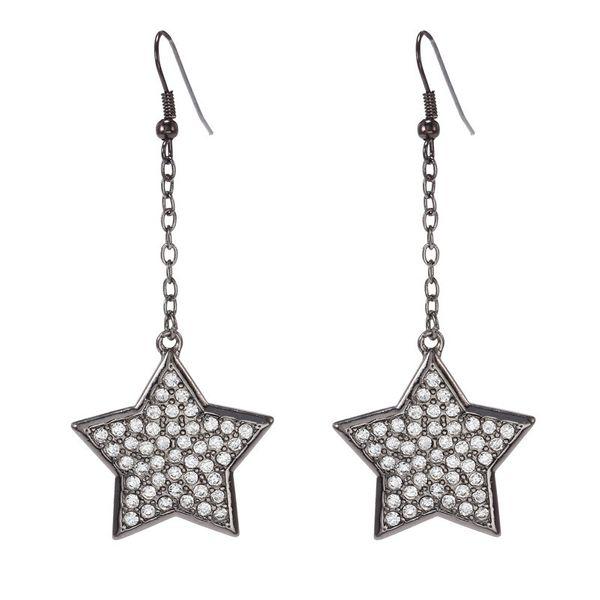 Moda retro explosión simple punta de aleación bohemia diamante estrella de cinco puntas pendientes largos borla accesorios al por mayor nihaojewelry NHZU221383