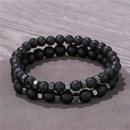 Naturel noir mat lave pierre volcanique usure noir calculs biliaires sparation perles lastique bracelet costume bracelet en gros nihaojewelry NHZU221387