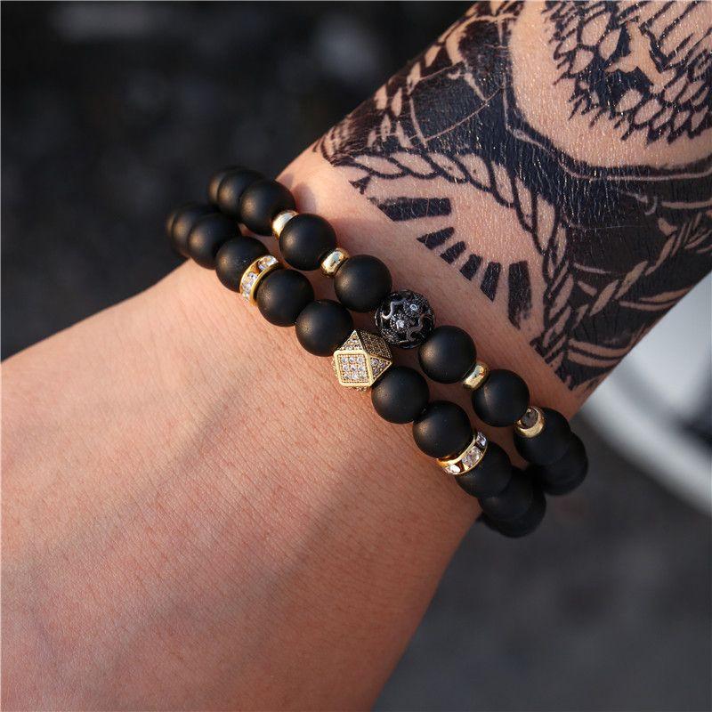 fashion jewelry hot sale black matte wear zircon diamond spacer set bracelet accessories  wholesale nihaojewelry NHZU221392