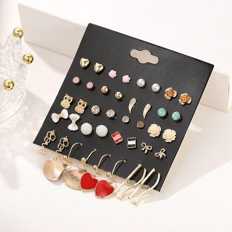 Mode coréenne rétro 1 carte 20 paires de perles goutte goutte alliage pêche coeur géométrique boucle d'oreille set spot gros nihaojewelry NHSD221396's discount tags