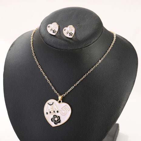 fashion jewelry hot mother's day fashion wild heart-shaped pendant necklace earrings drop oil combination jewelry set  wholesale nihaojewelry NHSD221398's discount tags