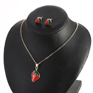 Japan and South Korea oil drop strawberry pendant necklace jewelry set sweet earrings  wholesale nihaojewelry NHSD221402's discount tags