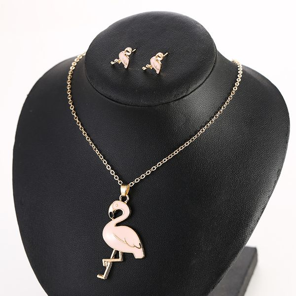 fashion new flamingo necklace set femininity earrings creative pendant combination jewelry  wholesale nihaojewelry NHSD221405