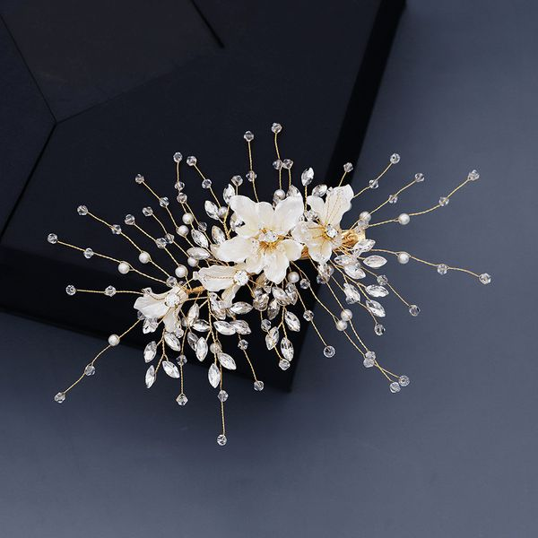 Acrylic flowers handmade hairpin pearl crystal high-end hair accessories bride toast dress plate hair accessories wholesale nihaojewelry NHHS221410