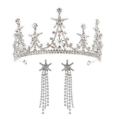 High-end custom wedding hair accessories Hansen sweet star crown earring set bride wedding dress accessories  wholesale nihaojewelry NHHS221418's discount tags