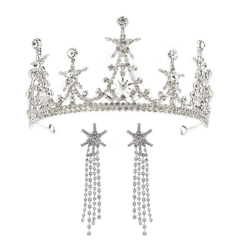 High-end custom wedding hair accessories Hansen sweet star crown earring set bride wedding dress accessories  wholesale nihaojewelry NHHS221418