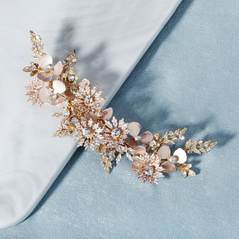 forest style hand-made rhinestone side clip retro golden flower hair clip bridal show Wo clothing plate hair styling accessories  wholesale nihaojewelry NHHS221423's discount tags