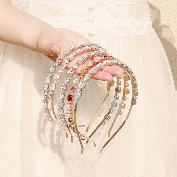 New fashion simple  Korea fashion AB color drill headband daily wild rhinestone thin hair headband nihaojewelry wholesale NHHS221424