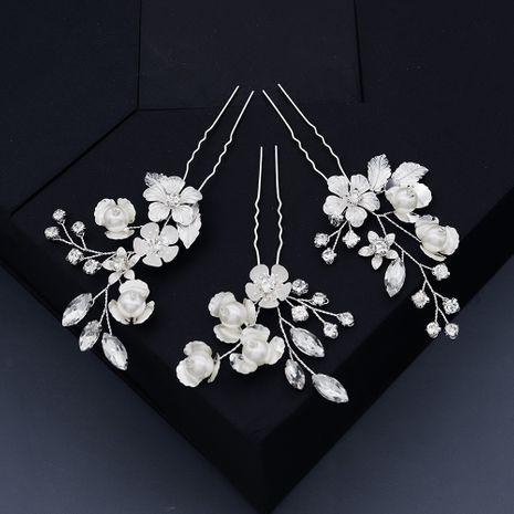 Handmade crystal hairpin set retro peach blossom U-shaped pin Hanfu headdress bride cheongsam photo disk hair accessories  wholesale nihaojewelry NHHS221428's discount tags