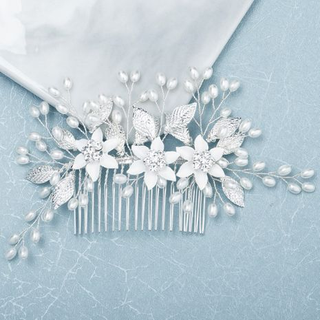 wedding jewelry forest alloy flowers inserted comb pearl hand-set diamond hair comb jewelry  wholesale nihaojewelry NHHS221429's discount tags