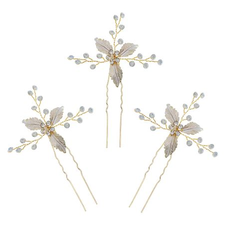 Bridal jewelry simple and beautiful headdress jelly rhinestones hand-made hairpin wedding dress U-shaped disk pin hair accessories  wholesale nihaojewelry NHHS221434's discount tags