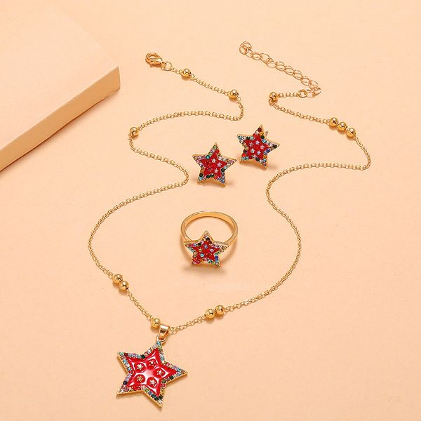 fashion trend summer new personality creative suit earrings simple retro colored diamond pentagram 3 piece set  wholesale nihaojewelry NHKQ221449
