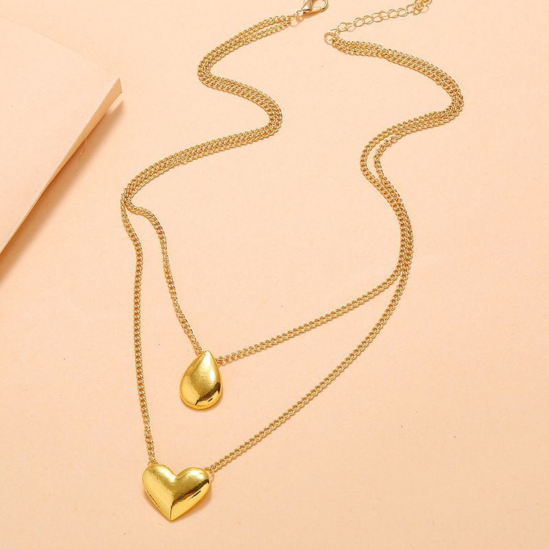 Korea simple niche temperament multi-layer clavicle necklace fashion personality trend three-dimensional water drop love necklace  wholesale nihaojewelry NHKQ221451