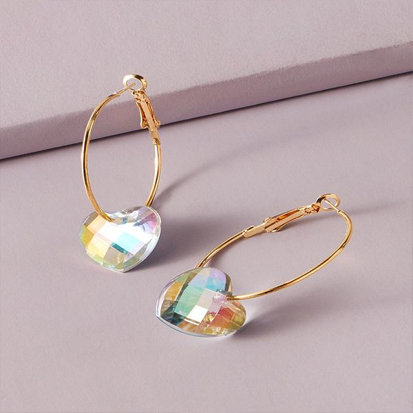 fashion personality exaggerated love color diamond earrings retro trend exaggerated circle earrings  wholesale nihaojewelry NHKQ221452