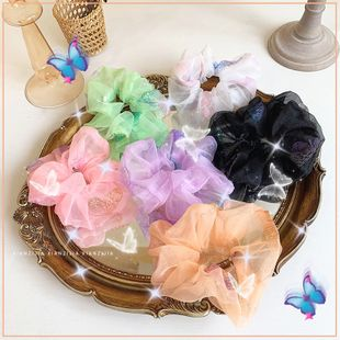 transparent yarn butterfly hair scrunchies sweet fabric head circle head rope fat bow hair accessories  wholesale nihaojewelry NHOF221461's discount tags