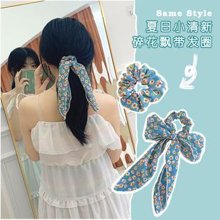 Clear sky blue floral bow hair scrunchies sweet chiffon ponytail head rope super fairy streamer hair ring wholesale nihaojewelry NHOF221462's discount tags