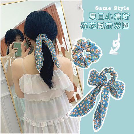 Ciel clair bleu floral arc cheveux chouchous doux en mousseline de soie queue de cheval tête corde super fée streamer cheveux anneau en gros nihaojewelry NHOF221462's discount tags