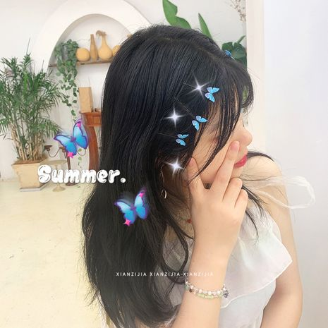 blue butterfly hairpin dream sweet side clip hair accessories girl bangs clip hairpin word clip  wholesale nihaojewelry NHOF221463's discount tags