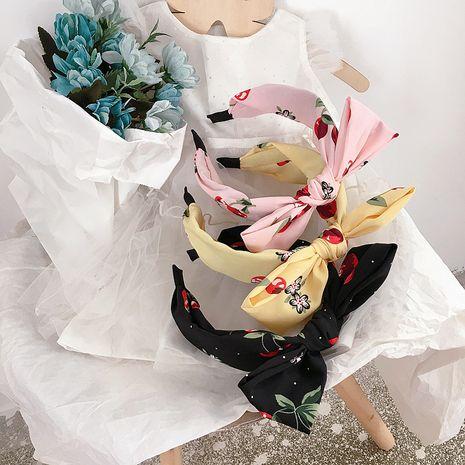 New Korean big cherry print top knot bow tie headband parent-child headband head buckle hairpin hair accessories wholesale nihaojewelry NHHI221467's discount tags