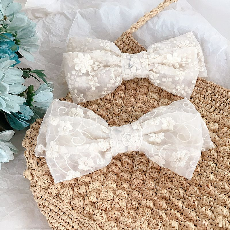 French retro lace double bow spring clip steel clip top clip hair ornament headdress wholesale nihaojewelry NHHI221468