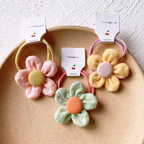 Korean hair scrunchies children five-petal flower head rope net red ins rubber band tied braid hair rope cute hair circle head jewelry NHSA221473's discount tags