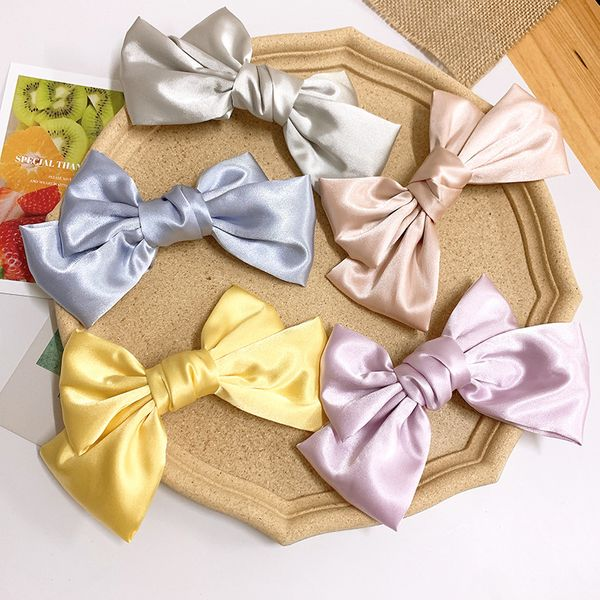 Gentle spring color  temperament satin bow hairpin French top clip hairpin back head clip hair accessories  wholesale nihaojewelry NHSA221477
