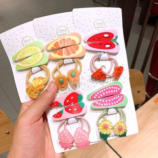 New hair scrunchies hair clips set  handmade fruit clip children BB clip Korean hair rope combination side clip children jewelry card NHSA221480's discount tags
