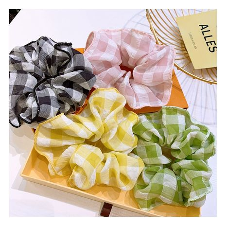 Korean hair scrunchies retro small fragrance style British large square fold wide-sided fairy hair circle ball head tie rubber band  wholesale nihaojewelry NHHD221485's discount tags