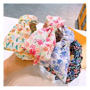 Original cute retro floral temperament super large bowknot double-layer wild headband wide-edge hairpin wholesale nihaojewelry NHHD221492's discount tags