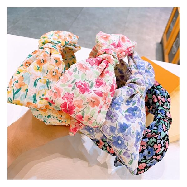 Original cute retro floral temperament super large bowknot double-layer wild headband wide-edge hairpin wholesale nihaojewelry NHHD221492