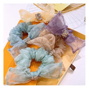 retro fairy hair scrunchies mesh yarn full diamond bow printing ball head tie jewelry hair ring rubber band jewelry  wholesale nihaojewelry NHHD221497's discount tags
